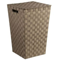 Tkany kosz na pranie, pojemnik łazienkowy, kolor brązowy