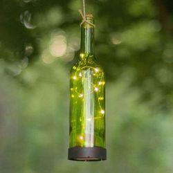Lampa solarna LED Bottle, zielona