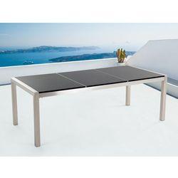 Stół czarny polerowany ze stali nierdzewnej 220cm - granitowy blat - dzielona płyta - GROSSETO - sprawdź w wybranym sklepie