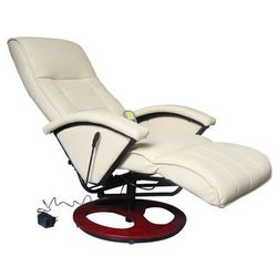 vidaXL Elektryczny fotel masujący ze skóry syntetycznej, kremowy (8718475806981)