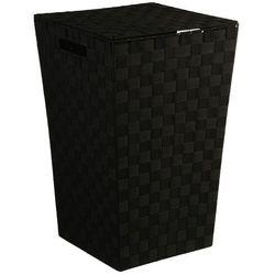 Pojemnik na pranie w kolorze czarnym, kosz na pranie czarny, kosz na pranie materiałowy, kosz łazienkowy, pojemnik na bieliznę marki 5five simple smart