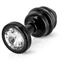 Diogol Plug analny zdobiony -  ano butt plug ribbed black 35 mm czarny, kategoria: wtyczki i korki analne