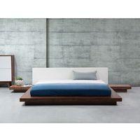 Łóżko jasnobrązowe - 180x200 cm - łóżko drewniane - styl japoński - ZEN, kolor brązowy
