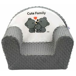 New Baby Fotelik dla dzieci z Minky Cute Family szary, 42 x 53 cm, 689874