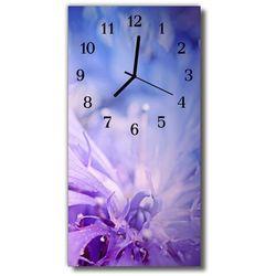 Zegar Szklany Pionowy Kwiaty Kwiat płatki purpurowy