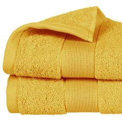 Żółty ręcznik łazienkowy z bawełny o grubym splocie, ręcznik z bordiurą w modnym odcieniu ochry marki Atmosphera