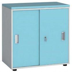 Szafa biurowa z przesuwnymi drzwiami, 740 x 800 x 420 mm, biały/turkusowy