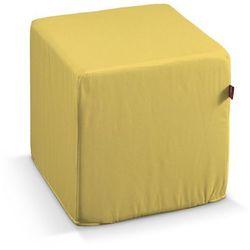 pokrowiec na pufę kostke, żółty z połyskiem, kostka 40x40x40 cm, milano marki Dekoria