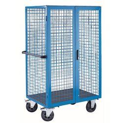 Wózek piętrowy, podwójne drzwi skrzydłowe, jasnoniebieski. Jedna strona wzdłużna