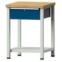 Kompaktowy stół warsztatowy, blat z litego drewna bukowego,szer. x głęb. 605 x 650 mm, 1 szuflada marki An