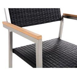 Beliani zestaw ogrodowy szklany blat 180 cm 6 osobowy rattanowe krzesła gross (4251682205429)