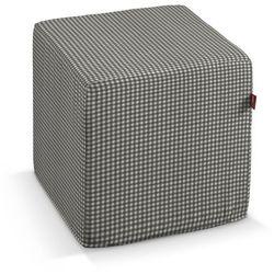 pufa kostka, szaro biała krateczka (0,5x0,5cm), 40 × 40 × 40 cm, quadro marki Dekoria