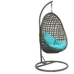 Wiszący fotel YOKOHAMA z technorattanu w kolorze taupe z turkusowymi poduszkami