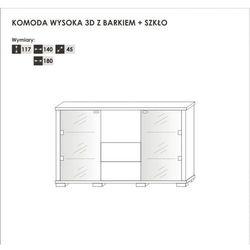 Komoda wysoka 2S + barek 2DSZ + szkło 140 cm Kolekcja Walenty