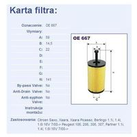 Filtr oleju oe 667 wyprodukowany przez Filtron