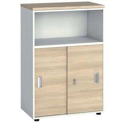 Szafa biurowa kombinowana, przesuwne drzwi, 1087 x 800 x 420 mm, biały/dąb naturalny