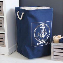 Design by impresje24 Kosz na pranie, granatowo-biały., kategoria: kosze na pranie