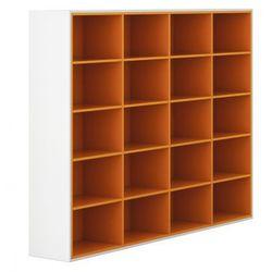 B2b partner Szafa otwarta, długa, white layers, pomarańczowe półki
