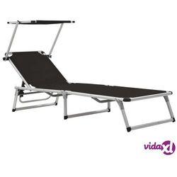 składany leżak z daszkiem, aluminium i textilene, czarny marki Vidaxl