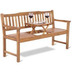 Ławka ogrodowa ze stolikiem z drewna egzotycznego Akacja