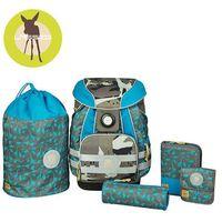 - plecak szkolny xl ze sztywnymi plecami, 2 piórnikami, workiem i saszetką - dino slate marki Lassig