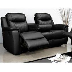Skórzana sofa 3-osobowa EVASION z funkcją relaks - Czarny