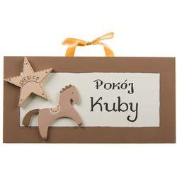 Coloriko Ozdoba ręcznie malowana  (z personalizacją) - tabliczka na drzwi z konikiem