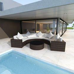 półokrągła, polirattanowa sofa + stolik, zestaw w kolorze brąz, marki Vidaxl