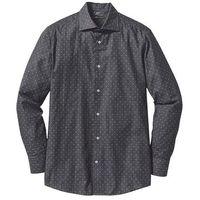 Koszula biznesowa w delikatny deseń regularny fit  czarno-biały wzorzysty marki Bonprix