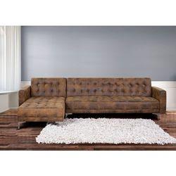 Sofa brazowa - kanapa - skórzana - rozkladana - naroznik - ABERDEEN - produkt z kategorii- sofy