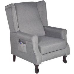 Vidaxl fotel masujący, elektryczny, regulowany, materiałowy, szary