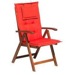 Krzesło ogrodowe drewniane poducha jasnoczerwona TOSCANA (4260586359909)