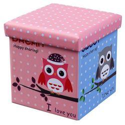 Kwadratowa pufa Mimi - różowa w sówki, V-CH-MOLY-PUFA-OWL