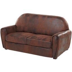 Sofa 2/3-osobowa z mikrofibry imitującej postarzoną skórę w stylu klubowym VICTORY II