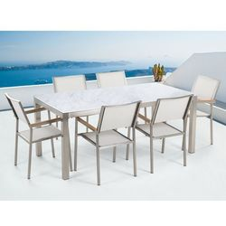 Zestaw ogrodowy biały ceramiczny blat 180 cm 6 białych krzeseł grosseto marki Beliani