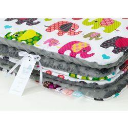 komplet kocyk minky 75x100 + poduszka słoniaki różowe / szary marki Mamo-tato