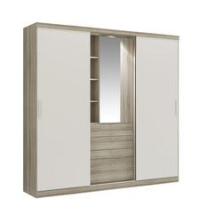 Szafa bodil - drzwi przesuwne - lustro i szuflady - dł.240 cm - kolor: dąb i kość słoniowa marki Vente-unique