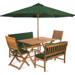 Fieldmann meble ogrodowe EMILY 6L2 + poduszki + parasol, zielone