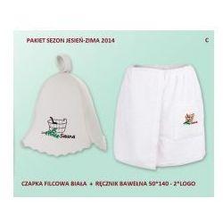 Pakiet logo - Kilt Ręcznik 50*140cm 100% Bawełna + Czapka biała do sauny C, 5581-2248F