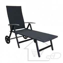 Leżak ogrodowy na kółkach, leżak plażowy, czarny marki 1