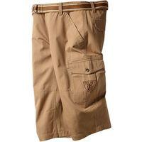 Spodnie 3/4 z paskiem loose fit  matowa wielbłądzia wełna marki Bonprix