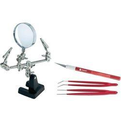 Zestaw Toolcraft, trzecia ręka, szklana lupa, pincety (2050002397217)