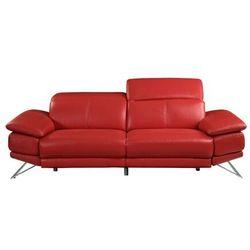 3-osobowa sofa puno z elektryczną funkcją relaksu, ze skóry – kolor czerwony marki Vente-unique