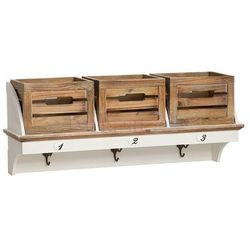 Garderoba z serii provance, matowa biel, skrzynie, naturalne drewno. marki Design by impresje24