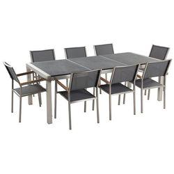 Zestaw ogrodowy naturalny kamień 220 cm 8 osobowy krzesła szare grosseto marki Beliani
