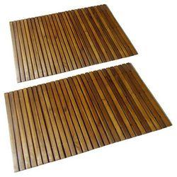mata prysznicowa z drewna akacjowego (80 x 50 cm) x2 marki Vidaxl