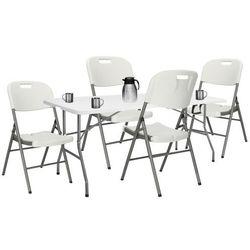 Zestaw cateringowy, stół z 4 krzesłami składany na bankiet, zestaw turystyczny biały