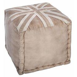 Puf – kostka, London, wymiary 40x40x40 cm, wygodny, ze wzorem angielskiej flagi, neutralny kolor beżowy, kompaktowy, praktyczny, kolor beżowy