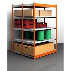 Stabilny regał wtykowy, obustronny, wys. regału 2000 mm, pomarańczowy / ocynkowa marki Unbekannt