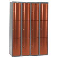 Ekskluzywne szafy osobiste 4x3 schowki Kolor drzwi: Czerwony metalizowany